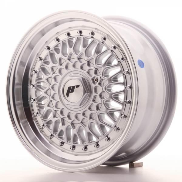 JR Wheels JR9 15x7 ET20 4x100/108 Silver w/Machined Lip+Silver Rivets