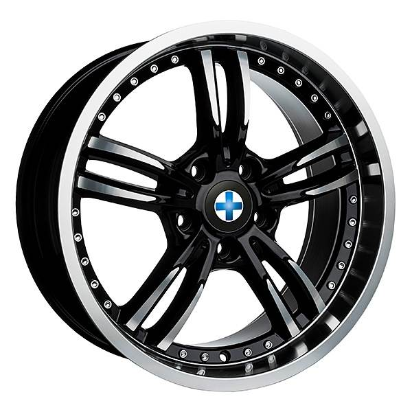 Blaukreuz Mi6 Black Polished Chrome Rivets 8x18 ET20 CB74.1 5x120