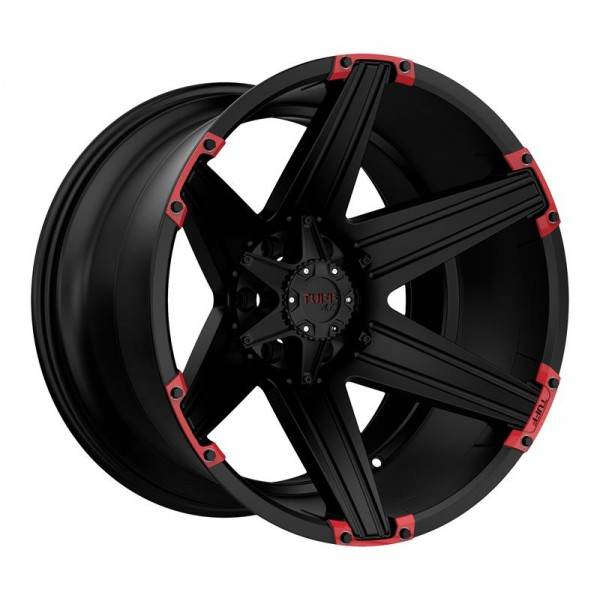 T12 SATIN BLACK W  RED INSERTS 6 ET -19 CB 106.1 - SATIN BLACK W  RED INSERTS