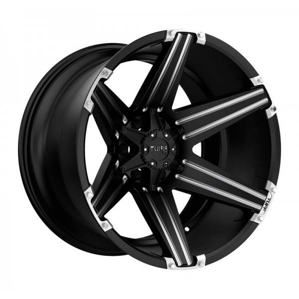 T12 SATIN BLACK W  MILLED SPOKES AND BRUSHED INSER 6 ET -19 CB 106.1 - SATIN BLACK W  MILLED SPOKES AND BRUSHED INSER
