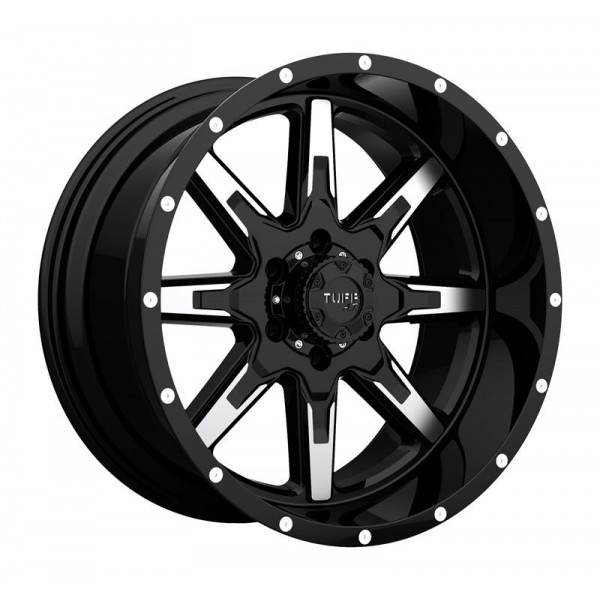 T15 GLOSS BLACK W  MACHINED FACE 8 ET -19 CB 130 - GLOSS BLACK W  MACHINED FACE