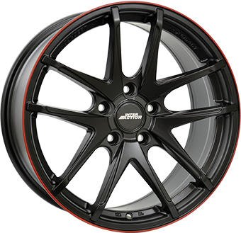 7,5X17 IA RED HOT 5/108 ET45 CH63,3 Dull Black / Red 5 ET 45 CB 63.3 - INTER ACTION