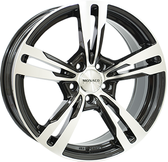 7,5X17 MONACO GP4 5/108 ET45 CH63,4 Gloss Black / Polished 5 ET 45 CB 63.4 - MONACO