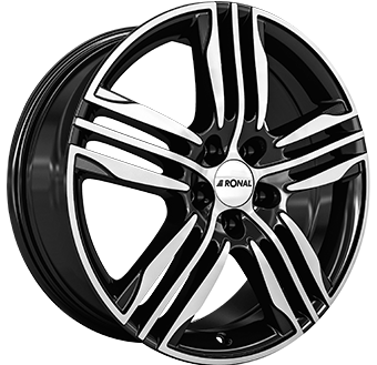 7,5X17 RONAL R57 5/112 ET48 CH76 Gloss Black / Polished 5 ET 48 CB 76 - RONAL