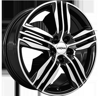 7,5X18 RONAL R57 4/108 ET24 CH76 Gloss Black / Polished 4 ET 24 CB 76 - RONAL
