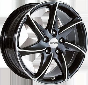 8,0X18 RONAL R51 5/108 ET33 CH76 Gloss Black / Polished 5 ET 33 CB 76 - RONAL