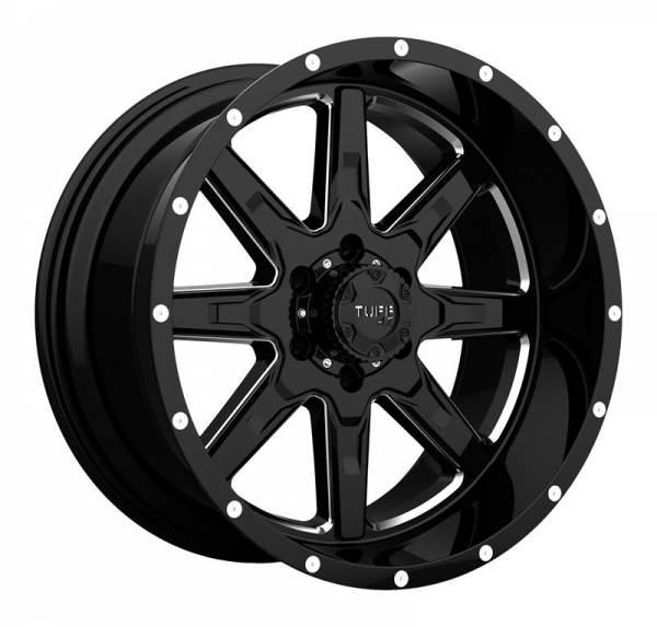 T15 GLOSS BLACK W  MILLED SPOKES 8 ET -24 CB 130 - GLOSS BLACK W  MILLED SPOKES