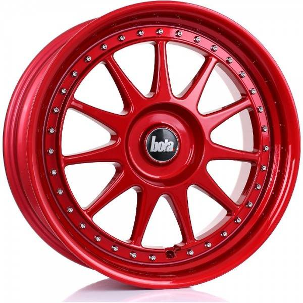 BOLA B4 CANDY RED SILVER RIVETS 4x98 ET 30-45 CB 74.1 - B4